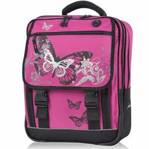 PREMIUM Schulranzen KEANU Atlas Schulrucksack :: 25 Liter, Rückenpolster und Reflektoren (Butterfly Azalea Pink)