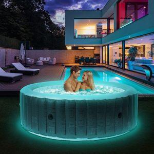 Miweba MSpa Whirlpool 2021 Comfort Starry C-ST061, Whirlpool aufblasbar mit LED-Licht, 6 Personen