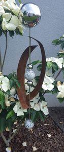 Skulptur Deimos poliert 145 cm Edelstahl & Cortenstahl Beetstecker Gartenstecker Rosenkugel
