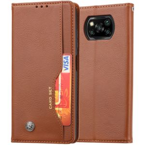 Xiaomi Poco X3 NFC Hülle, LaimTop Premium Klappetui Brieftasche Ledertasche Schutzhülle mit Kartenfach und Standfunktion für Xiaomi Poco X3 NFC Braun