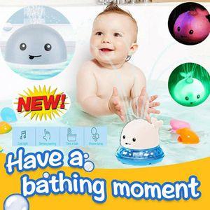 Kinder Baby Wasserspielzeug, Elektrisches Wal-UFO-Badespielzeug Automatisches Licht Und Wasserspray, Grau