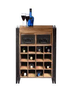 SIT Möbel Weinregal für 16 Flaschen   2 Schubladen   Akazie natur   Altmetall antikschwarz   B 58 x T 35 x H 80 cm   09237-01   Serie PANAMA