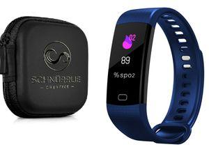 SCHNÜRRLIE Fitness Tracker Armband - wasserdichte Sportuhr Smartwatch mit Case - Aktivitätstracker mit Pulsuhr Blau