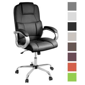 TPFLiving bequemer  XXL Bürostuhl DENVER XXL Chefsessel belastbar bis 210 kg, schwarz | Wippfunktion | stabile Castor Rollen | hochwertig