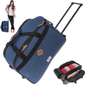 Reisetrolley Weekender Duffle Elephant 55 cm Trolley Reisetasche mit Rollen Saunatasche 12690 Two Tone Blau