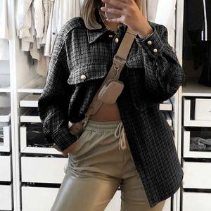 Frauen Mode Langarm Plaid Pocket Coat Shirt Jacke Mantel Größe:L,Farbe:Schwarz