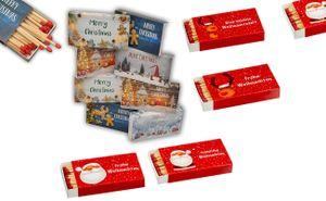 12er Set XL Packungen Streichholzschachteln, 10cm mit Weihnachten/Christmas Design Streichhölzer Zündhölzer