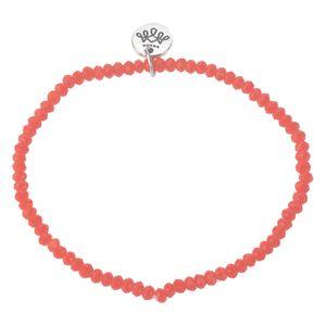 Melady Perlenarmband Ø6-7cm (2mm) Orange  Glas Rund Perlen Armband Damen Armbänder Damenschmuck