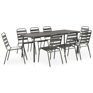 Gartenmöbel Essgruppe 8 Personen ,9-TLG. Terrassenmöbel Balkonset Sitzgruppe: Tisch mit 8 Stühle Stahl Dunkelgrau❀7376