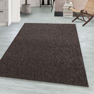 Schlingenteppich Kettelteppich Kurzflor Teppich Flachgewebe Meliert braun, Farbe:BRAUN,80 cm x 150 cm