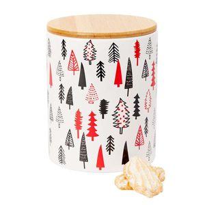 Keksdose Weihnachten Plätzchendose Tanne Stein mit Holzdeckel Tannenbaum H17cm