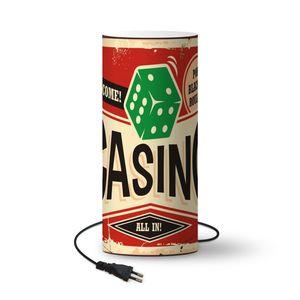Lampe - Casino-Retro-Schild. Vintage Blechschild mit grünen Würfeln auf rotem Hintergrund, Casino Glücksspiel Schild Dekoration. - 54 cm hoch - Ø23 cm - Inklusive LED-Lampe