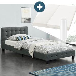 Polsterbett Manresa 90 x 200 cm – Bett mit Lattenrost, Matratze und Kopfteil – Komplett-Set - Zeitloses modernes Design, Grau | Artlife