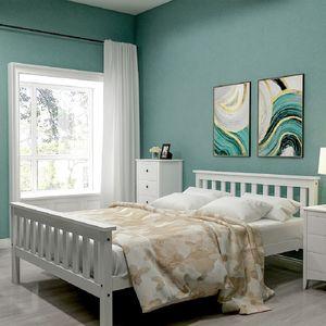 Doppelbett 140 x 200cm, Kiefer Bettgestell Massivholzbett mit Kopfteil und Lattenrost, Hochwertiger klassische betten Holzbett für Schlafzimmer ,Weiß