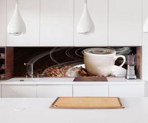 Aufkleber Küchenrückwand Kaffee Tasse Coffee Bohnen Küche  Folie selbstklebend Dekofolie Fliesen Möbelfolie Spritzschutz 22A053, Höhe x Länge:60cm x 60cm