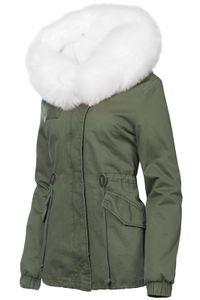 Damen Winter Baumwolle Jacke Pelz Kapuze, Farbe:Olive-Weiß, Größe:L