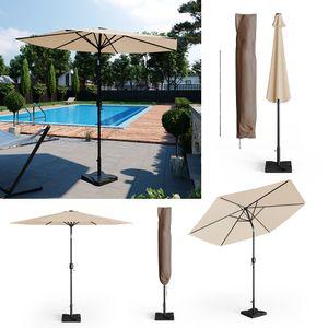 Oskar Sonnenschirm 270cm Set beige inkl Schutzhülle + Ständer Gartenschirm