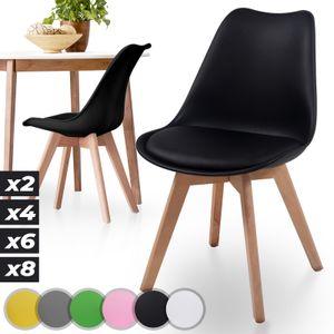 MIADOMODO® Esszimmerstühle 2er 4er 6er 8er Set - Skandinavischer Stil, gepolstert mit Sitzkissen, aus Kunststoff & Massivholz, Farbwahl - Vintage, Retro, Küchenstuhl, Stühle (2er, Schwarz)