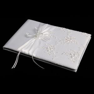 Hochzeitsempfang Satin Rose Blume Sticken Gästebuch Unterschriften Weiß