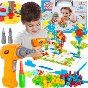 MalPlay Steckspiel Spielzeug | Bohrmaschine Werkzeugkasten | Puzzle Pädagogisch Kreativ | Geschenk für Kinder ab 3 Jahren