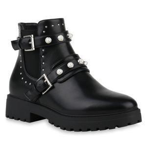 Mytrendshoe Damen Biker Boots Stiefeletten Booties Zierperlen 831472, Farbe: Schwarz, Größe: 39