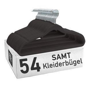 Clothink 54er-Pack Schwarz Premium Kleiderbügel Samt - Kleiderbügel für Hemd, Kleid, Anzug, Jacke, Träger - rutschfest