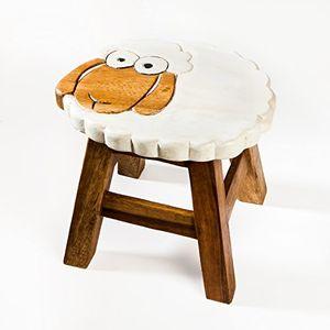 Kinderhocker, Schemel, Kinderstuhl massiv aus Holz mit Tiermotiv Schaf, 25 cm Sitzhöhe für unsere Kindersitzgruppe