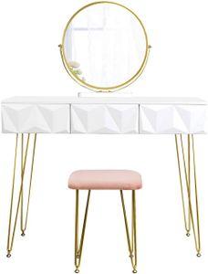 WOLTU  Designer Schminktisch & Hocker schwenkbarer Spiegel 3 Schublade Gold