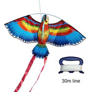BULE NEUE Drachen Fš¹r Kinder Kinder Sch?ne Cartoon Papagei Drachen Mit Fliegen Linie