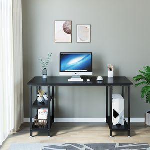 Dripex Schreibtisch Computertisch Bürotisch Eckschreibtisch Gaming Tisch PC mit Regalfächer Schwarz 120 x 48 x 76CM
