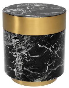Casa Padrino Beistelltisch Schwarz / Messing Ø 45 x H. 53 cm - Luxus Qualität