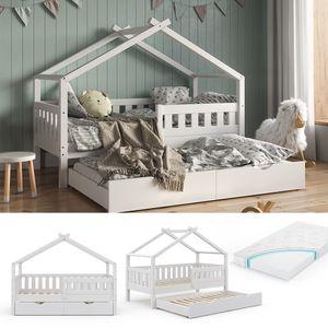VitaliSpa Design Kinderbett 160x80 Babybett Hausbett Gästebett Matratze weiß