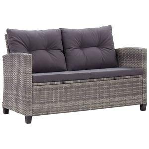 vidaXL 2-Sitzer-Gartensofa mit Kissen Grau 124 cm Poly Rattan