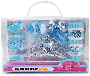 Eis-Prinzessin Kinder Mädchen 22-tlg.-Set Krone Diadem Haarspange Zubehör Elsa Haargummis Kostüm Verkleidung zum Kleid Glitzer