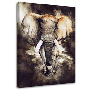 Wanddeko Elefant Leinwandbild Kunstdruck Tier Braun 40x60 cm