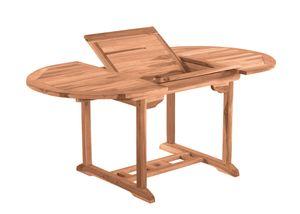 Möbilia Gartentisch rund 120 cm | ausziehbar auf 170 cm | mit Schirmaussparung | B 120 x T 120 x H 75 cm | natur | 11020016 | Serie GARTEN