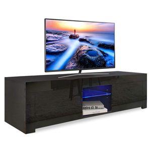 YOLEO TV-Lowboard Fernsehschrank Fernsehtisch TV-Schrank mit LED-Beleuchting Stehend TV-Regal 130x35x35 cm Schwarz