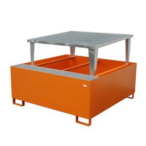 Bauer GmbH Auffangwanne lackiert mit Gitterrost und Abfüllaufsatz AWA 1000, lackiert orange RAL 2000