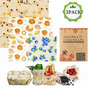 Bienenwachstücher für Lebensmittel, 3er Set Wachspapier Wiederverwendbar LFGB ,Bienenwachstuch als Alternative zur Frischhaltefolie