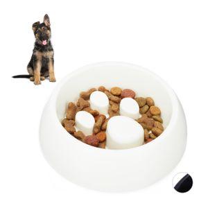 relaxdays 1 x Anti Schling Napf weiß Futternapf Katze Hundenapf Fressnapf langsam Fressen