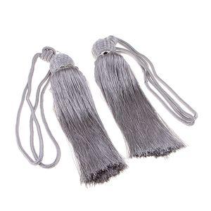 1 Paar Vorhang Raffhalter Fringe Silber grau wie beschrieben