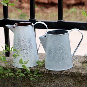 2er-Set Metall Blumenvase Wasserkrug/Eimer Vase Vintage Deko für Garten