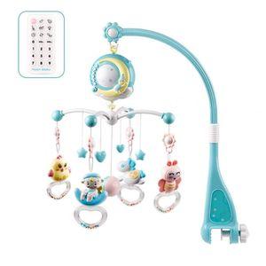 Baby Mobile für Babybetten mit Musik, Crib Mobile mit Nachtlicht, Fernbedienung und Spielzeug zum Packen und Spielen (Blau)