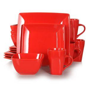 vancasso Tafelservice »SOHO« 16-tlg. Porzellan Teller Set, Kombiservice Tafelset mit Kaffeetassen, Müslischalen, Rot