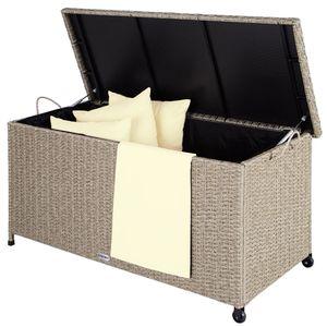 Deuba Auflagenbox 122x56x61 cm Poly Rattan Wasserdicht Rollbar 2 Gasdruckfedern Kissen Garten Box Truhe Grau Beige