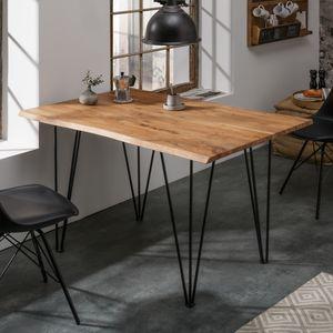 Retro Esstisch MAMMUT 120cm Wild-Akazie Küchentisch / Schreibtisch mit Hairpin Legs