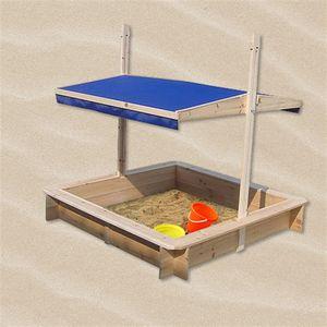 Sandkasten Sandbox Sandkiste Spielhaus Holz mit verstellbaren Dach Blau NEU Holzsandkasten UV Schutz Abdeckplane Buddelkiste Plane