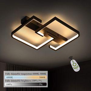 ZMH LED Deckenlampe LED 35W Schwarze Wohnzimmerlampe dimmbar mit Fernbedienung
