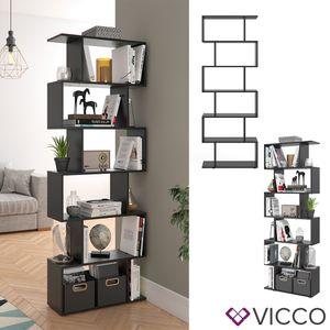 VICCO Raumteiler LEVIO 6 Fächer Schwarz Bücherregal Standregal Aktenregal Hochregal Regal