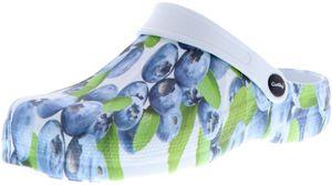 ConWay Damen Clogs Pantoletten Blaubeeren mehrfarbig, Größe:39, Farbe:Mehrfarbig